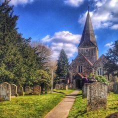 Yesterday I took a stroll down memory lane to Shere in Surrey which is where my dad grew up. This is Shere church. It hasn't changed a bit over the years and is such a quintessentially English church that it's been featured in loads of Hollywood movies like The Holiday and Bridget Jones: The Edge of Reason. Isn't it so lovely? by lovepuffin