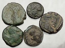 300BC-100AD Authentic Ancient GREEK Coin Group Lot of 5 COINS i50597