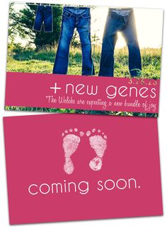 Pregnancy Announcement Card: New Baby Genes, Coming Soon, Expecting a Baby Announcement. $9.99, via Etsy.