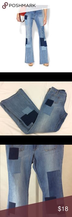 New York & Co Sz 8 Soho Patch Flare Jeans Soho Jeans - Patchwork Flare - Blue Wash   Rock a retro vibe with a city-chic, modern update! These new, must-have flare jeans are embellished with patchwork accents. Our Flare leg is slim through hip and thigh, with a dramatic flare.    Zip front with button closure. Front patch pockets. Denim patches on front legs. Back patch pockets. Back yoke.  Flare leg. Full length. Sits just below waist. Slimming through hip & thigh. Inseam: 33 inches. 81%…