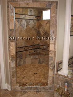 Walk-In Tile Shower Design Ideas - For more Walk In Tile Shower Designs visit www.homeizy.com/tiled-walk-in-shower-designs/