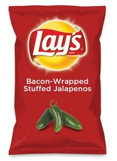 Wouldn't Bacon Wrapped Jalapeno be yummy as a chip? Lay's Do Us A Flavor is back, and the search is on for the yummiest flavor idea. Vote for me please! Bacon Wrapped Stuffed Jalapenos, Cream Cheese Stuffed Jalapenos, Jalapeno Cheddar, Stuffed Peppers, Roasted Jalapeno, Jalapeno Cornbread, Jalapeno Pepper, Pepper Jelly, Pico De Gallo