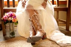 DONE!  Bride in Cowgirl Boots