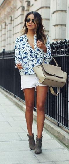 street style. white + blue blouse. denim shorts. ankle boots.