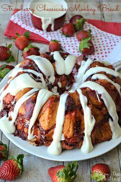 Strawberry Cheesecake Monkey Bread from Lemon Tree Dwelling #recipes