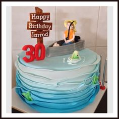 Fondant Fisherman Fishing Theme 30th Birthday Cake