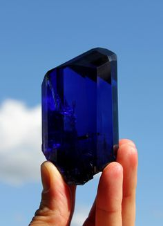 "Tanzanite Crystal, The ""Deep Blue"" in hand (. 8 cm, 970 cts) / The ""Deep Blue"" holded (8 cm, 970 cts.) (C: Marucs Budil Q: Malte Sickinger)"