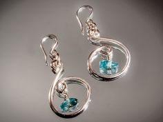 Wire Wrapped Sterling Silver with Apatite Gemstone Chips.