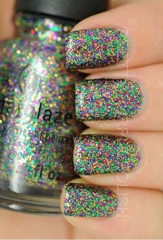 Perfect for Mardi Gras.- Check out this list of some of China Glaze nail polish glitter combos that will surely make you drool. Its time to shine your way through the party. Fabulous Nails, Gorgeous Nails, Love Nails, How To Do Nails, Pretty Nails, My Nails, Crazy Nails, China Glaze Nail Polish, Glitter Nail Polish