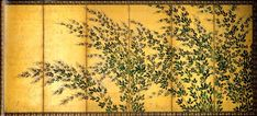 Bush clover. hasegawa tohaku - Antique Japanese folding screen