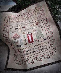 Kerst Sampler-Molly Mitchell, 1836 / origineel design door SubRosa Digitale patroon (verstuurd via e-mail) Steek de graaf: 197 X 261 Formaat