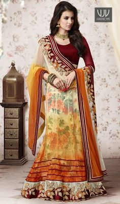 Epitome Digital Georgette A Line Lehenga Choli Elegance and honourable come together in this beautiful drape. Unique elegance will come out out of your dressing design with this multi colour georgette a line lehenga choli. The brilliant dress creates a dramatic canvas with terrific digital and lace work. Comes with matching choli and dupatta