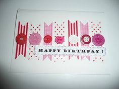 DIY Birthday cards with buttons and masking/washi tape