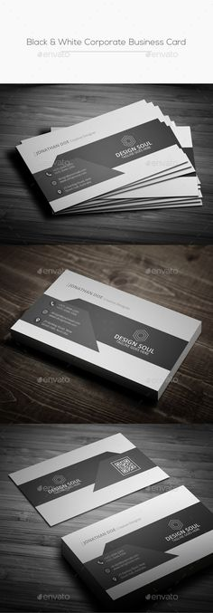 Black & White Corporate Business Card Template PSD. Download here: https://graphicriver.net/item/black-white-corporate-business-card/17461998?ref=ksioks