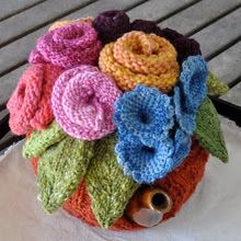 an inspiration to make tea cozies/ These are all knit but will encourage your creative side no matter your medium. Visit the GRAND PURL BAA, Queen of the Tea Cosies, Loani Prior Knitting Projects, Crochet Projects, Knitting Patterns, Crochet Patterns, Knitted Tea Cosies, Knitted Flowers, Tea Cozy, Flower Tea, How To Make Tea