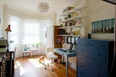 inspiration: floating white shelves above sam's desk, tucked in corner