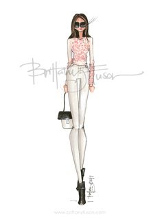 Blush pink petals, white jeans in the winter, a new go-to bag | Valentine's Day look | date night outfit ideas | Brittany Fuson | fashion illustration