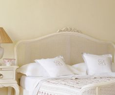 rattan wooden headboards modern designs with white cushions