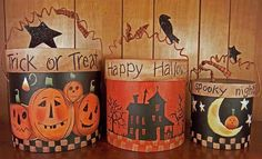 I wouldn't buy these but try to make them out of empty coffee cans or empty laundry softener bottles, great craft ideas for mom and olds :) Halloween 2018, Holidays Halloween, Fall Halloween, Halloween Projects, Halloween Ideas, Fall Decorations, Halloween Decorations, Coffee Can Crafts, Fall Crafts