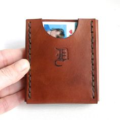Personalized slim leather wallet. Mens leather by FatCatLeather