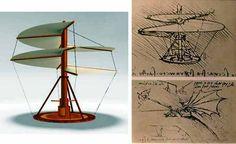 Helicopter concepts by Leonardo da Vinci.