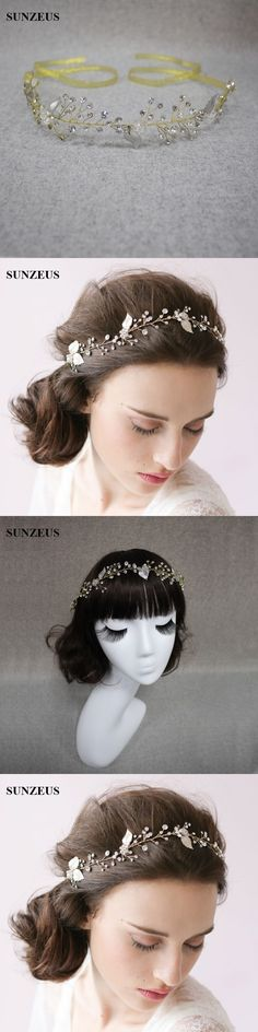 Golden Ribbons Bridal Hat Luxurious Wedding Hair Accessories Sparkly Beaded Rhinestone Headpiece tocados de pelo para bodas S802
