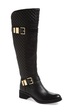 Free shipping and returns on Vince Camuto 'Faris' Tall Boot (Women) at Nordstrom.com. Quilted side panels and dual buckles with goldtone hardware accentuate the impeccable form of a knee-high riding boot fashioned with a stretch back panel to provide a custom fit.