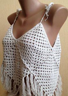 Abuela cuadrado tapa del ganchillo vestido top / por ElenaVorobey