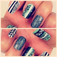 Ethnic and glitter nails #nailfever #nailart #nails