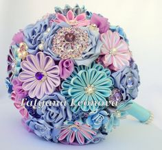 Brooch bouquet. Original handmade Wedding Bouquet in a blue color with the addition of Purple, Lilac. Flowers made of satin ribbon, decorated with