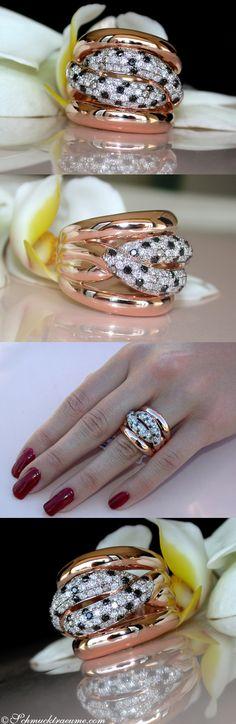 Huge Black, Brown & White Diamond Ring, 0,91 cts. RG-14K - Visit: schmucktraeume.com Like: https://www.facebook.com/pages/Noble-Juwelen/150871984924926 Mail: info@schmucktraeume.com