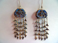 gilt silver kingfisher feather earrings with phoenix