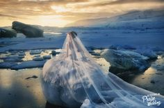 Breathtaking Iceland bridal portrait featuring the prettiest wedding dress! Exceptionally beautiful bridal inspiration!