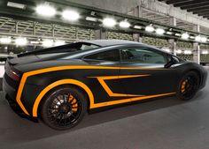 An amazing wrap on this Lamborghini Gallardo from Four Vectors. Materials used: 3M 1080 Satin Black, Matte Orange and Gloss Black vinyl.