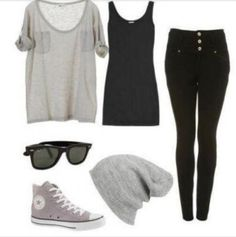 Casual :* with . - beanie, Converse all Star - shoe, Rey ban - sunglasses | on Fashionfreax you can discover new designers, brands & trends.