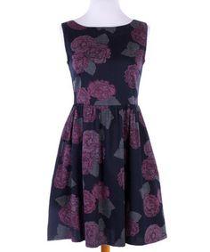 Loving this Black & Purple Rose Hello Dolly Dress on #zulily! #zulilyfinds