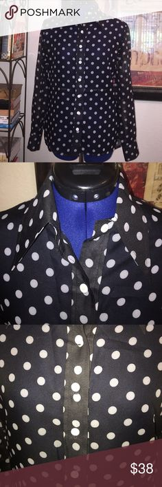 "Vintage ACT II Black White Polka Dot Sheer Blouse Vintage union tagged black and white polka Dot button down sheer blouse.  There are two union labels and designer label but missing size and fabric label.  I believe the material is 109% polyester and it is sheer.  Very good condition. Measurements Laid Flat: Sleeve 23.75""; Cuff 3.5""; Chest 19"" underarm to underarm; Length Back Center 25.25"" from neck to hem. Vintage Tops Button Down Shirts"