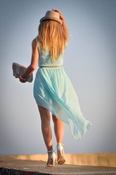 Magic Sunset : Aquamarine Asymetric Dress by A Place To Get Lost
