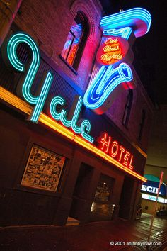 Vancouver Yale Hotel Neon Lights  in their former glory by anthonymaw, via Flickr Old Neon Signs, Vintage Neon Signs, Neon Light Signs, Old Signs, Wayfinding Signage, Signage Design, Electric Signs, Neon Licht, Neon Moon