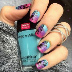 Stamped with a tropical Mo You London plate, color gradient with Wet N Wild polishes