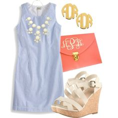 """Southern Sweetie"" by qtpiekelso on Polyvore this outfit is so perfect. love the shoes and the monogrammed clutch"