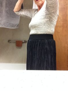 Stitch Fix Fail!  Cheap mixed materials dress shows roll of fat at midsection.  I am not slender.