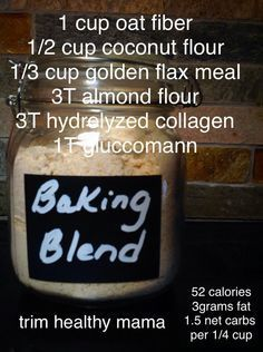 Baking Blend. It is one of the latest crazes on Trim Healthy Mama, and for good reason. Those that have it, love it. It is a gluten free, low glycemic flour substitute. It greatly improves the te…