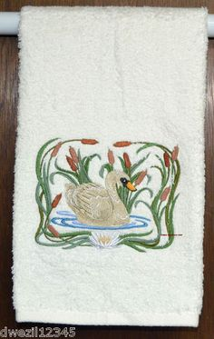 ART NOUVEA SWAN - STUNNING - 1 EMBROIDERED HAND TOWEL by Susan
