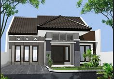 70 Examples of Simple House Models that Look Luxurious and Modern - Home Design Minimalist Bungalow House Design, Small House Design, Modern House Design, Minimalist House Design, Minimalist Home, One Storey House, Rest House, My House Plans, House Windows