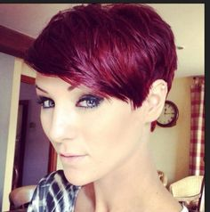 Burgundy short hair. Professional but sassy. Almost a little lavender in there.