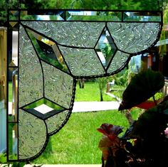 Stained Glass Lace Curtain Pair Gingerbread Trim Corners Or Room Dividers by Lin Glore Making Stained Glass, Stained Glass Designs, Stained Glass Panels, Stained Glass Projects, Stained Glass Patterns, Leaded Glass, Stained Glass Art, Mosaic Glass, Fused Glass