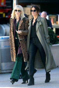 Cate Blanchett and Sandra Bullock are seen filming Ocean's Eight on the streets of New York.cat