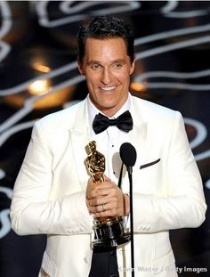 Oscars Matthew McConaughy... he thank God at the Oscars, and now I find out he is a Redskins fan, even though he is from Texas.... interesting & awesome!! He is so MY FAVORITE!!! =)