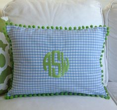 Monogrammed Gingham Pom Pom Pillow 12 x 16 by peppermintbee, $56.00